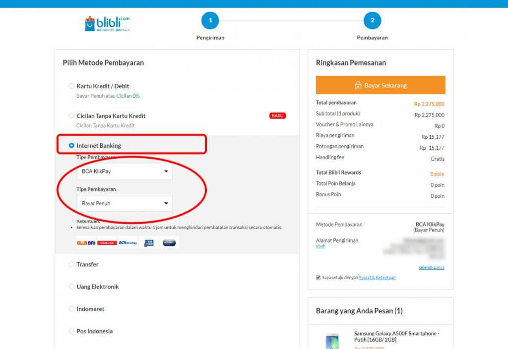 """Belanja Online di Blibli.com, Bayar dengan BCA KlikPay - Pilih metode pembayaran dan """"tipe pembayaran""""."""