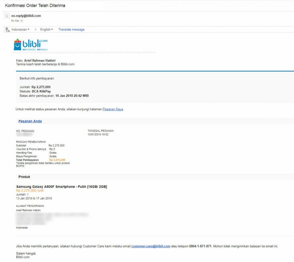 """Belanja Online di Blibli.com, Bayar dengan BCA KlikPay - Email pemberitahuan """"Konfirmasi Order""""."""