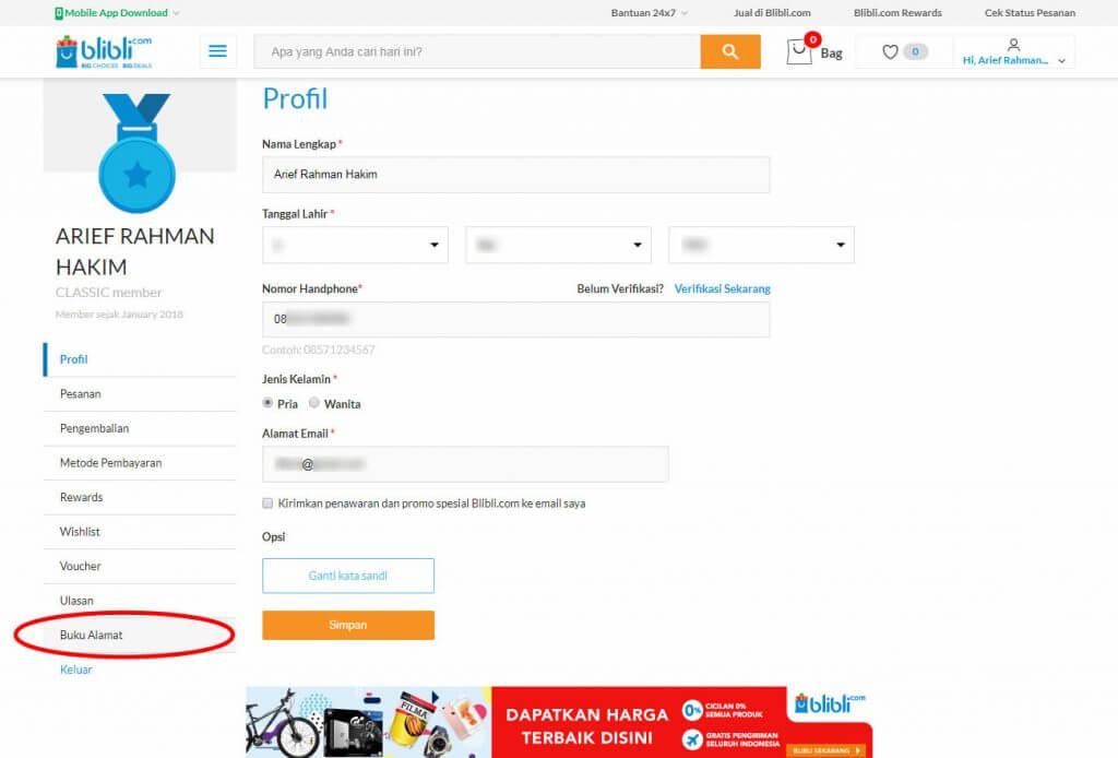 """Mendaftar Blibli.com - Klik menu """"Buku Alamat"""" pada menu profil pada menu sidebar."""