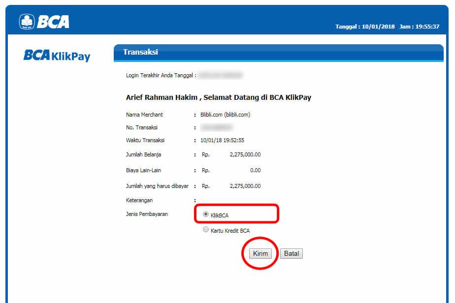 "Belanja Online di Blibli.com, Bayar dengan BCA KlikPay - Klik tombol ""Kirim""."