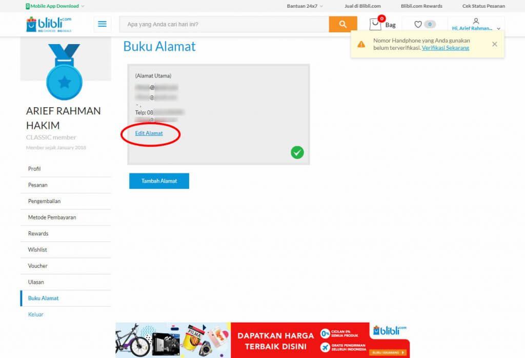 "Mendaftar Blibli.com - Klik link menu ""Edit Alamat""."