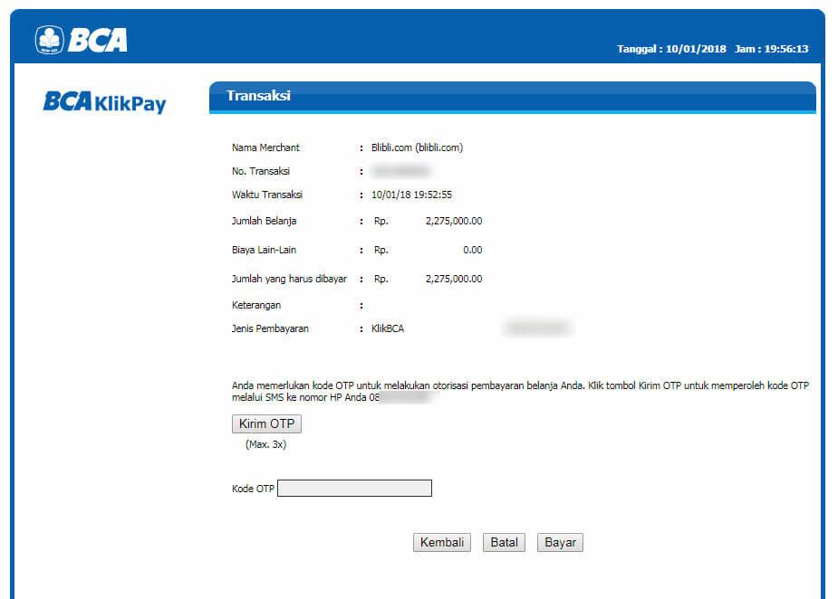 """Belanja Online di Blibli.com, Bayar dengan BCA KlikPay - Halaman """"OTP""""."""