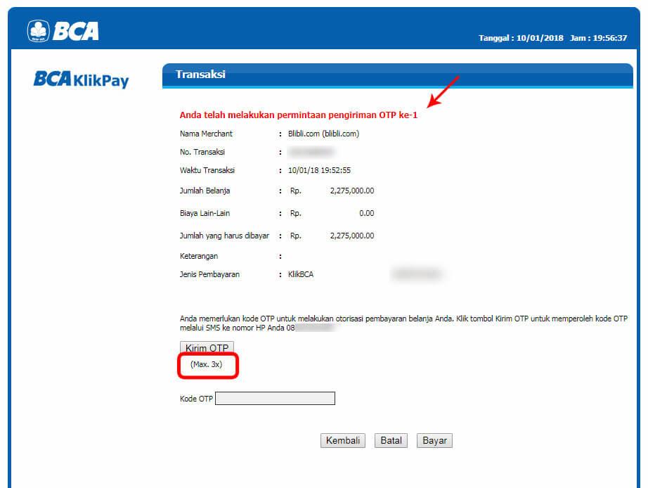 Belanja Online di Blibli.com, Bayar dengan BCA KlikPay - Pengiriman kode OTP ke-1.