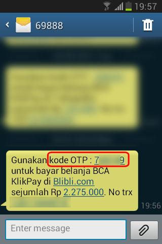 Belanja Online di Blibli.com, Bayar dengan BCA KlikPay - SMS berisi kode OTP dari BCA KlikPay.