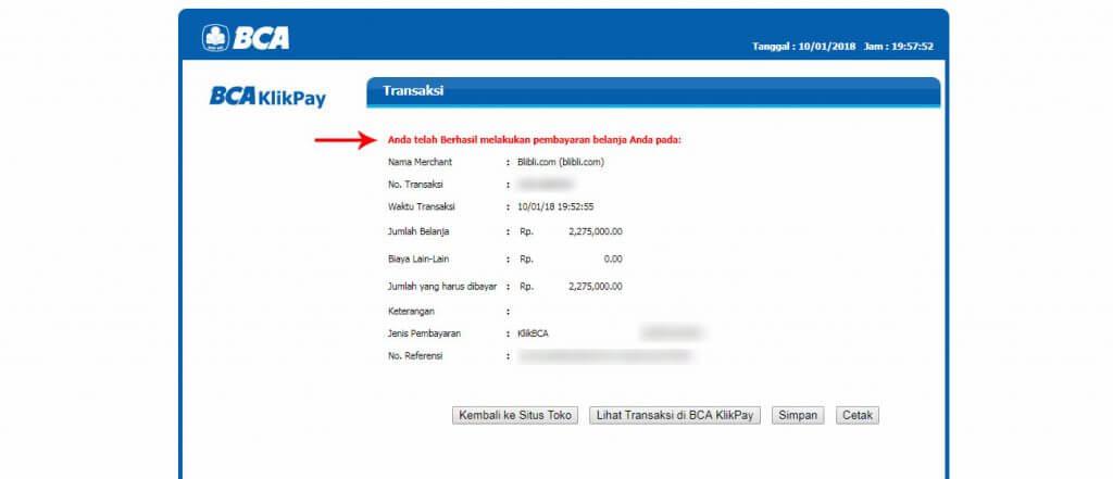 Belanja Online di Blibli.com, Bayar dengan BCA KlikPay - Halaman pembayaran berhasil.