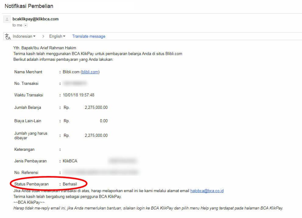 Belanja Online di Blibli.com, Bayar dengan BCA KlikPay - Email pemberitahuan pembayaran BCA KlikPay telah berhasil.