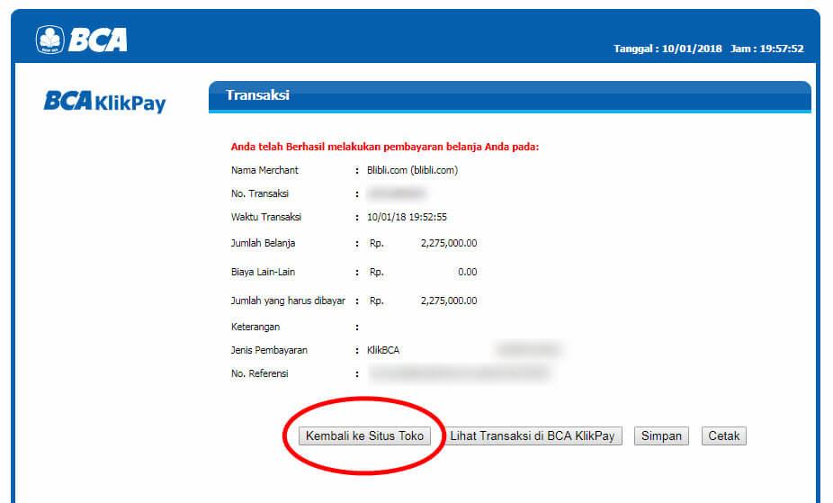 """Belanja Online di Blibli.com, Bayar dengan BCA KlikPay - Klik tombol """"Kembali ke Situs Toko""""."""
