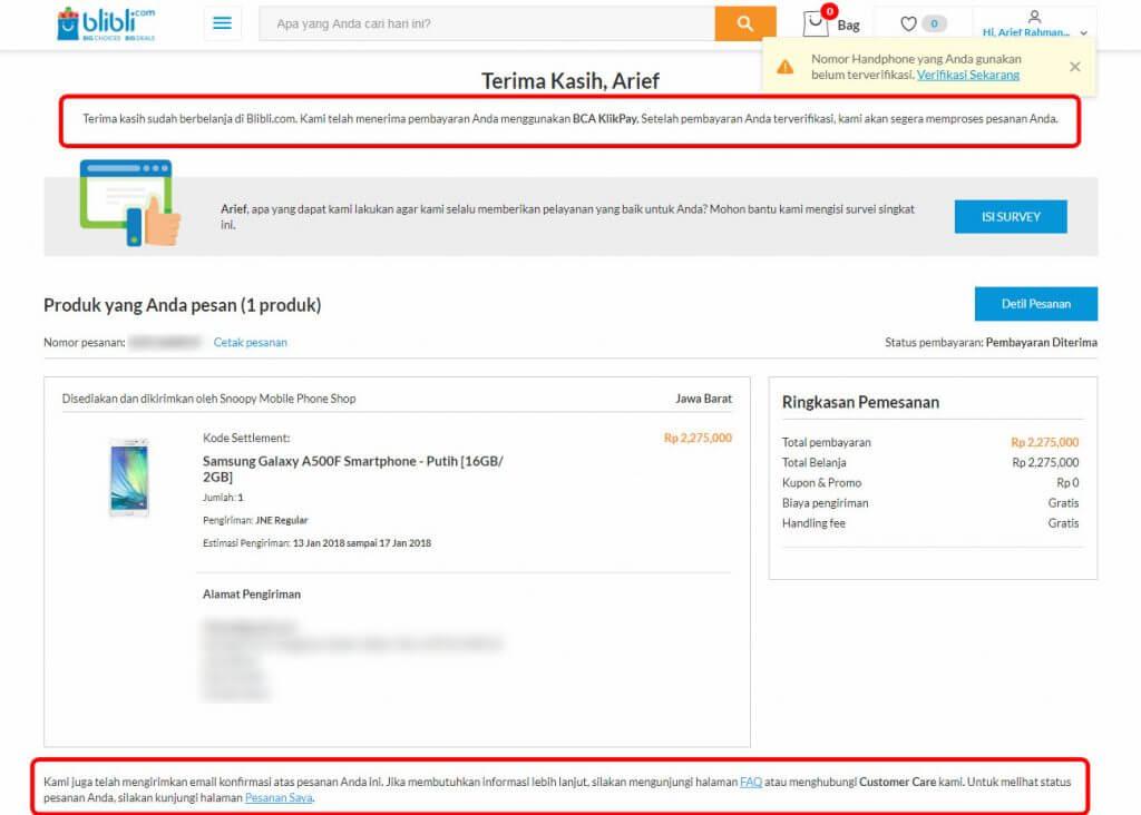 """Belanja Online di Blibli.com, Bayar dengan BCA KlikPay - Halaman """"Terima Kasih"""", pembayaran telah diterima."""