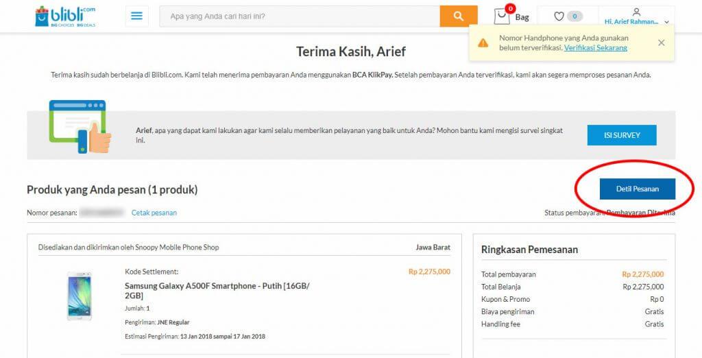 """Belanja Online di Blibli.com, Bayar dengan BCA KlikPay - Klik tombol """"Detil Pesanan""""."""