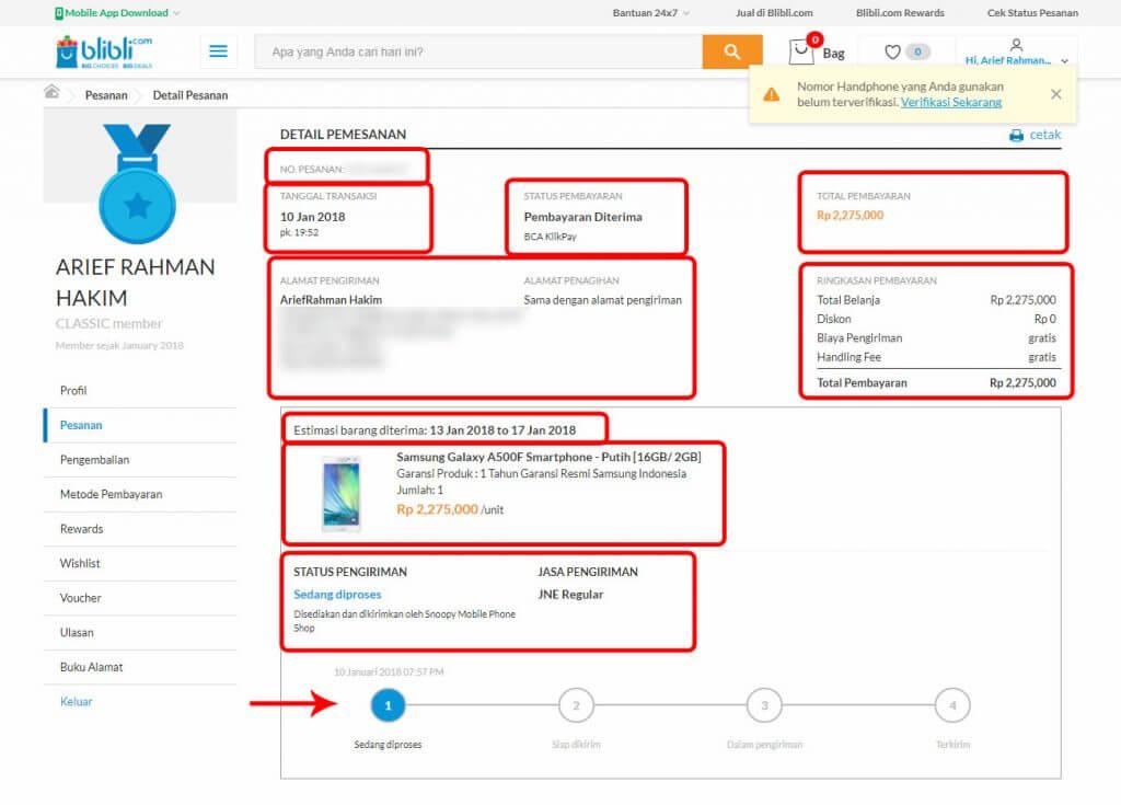 """Belanja Online di Blibli.com, Bayar dengan BCA KlikPay - Halaman """"Detail Pemesanan""""."""