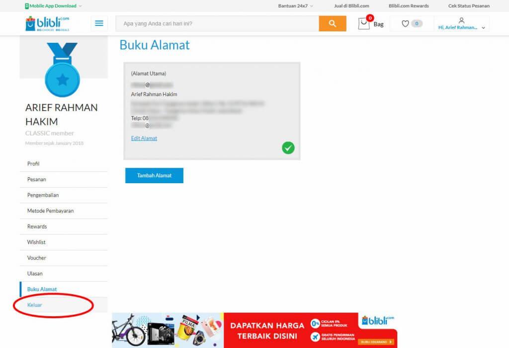 "Mendaftar Blibli.com - Jika tidak akan langsung belanja, klik menu ""Keluar"" pada menu sidebar."
