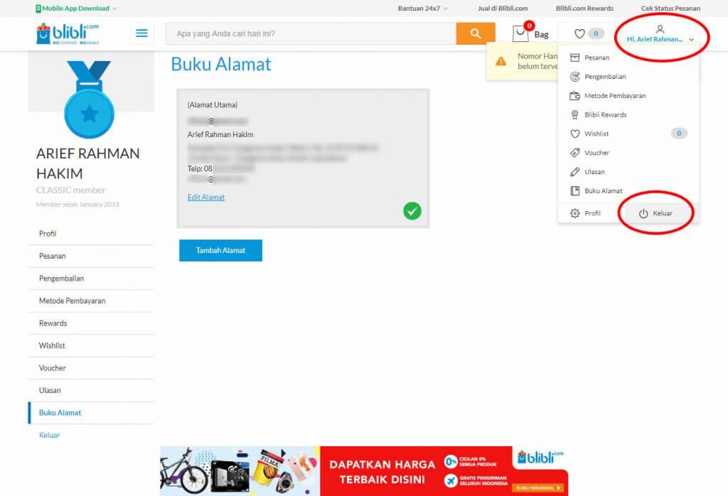 """Mendaftar Blibli.com - Jika tidak akan langsung belanja, klik menu """"Keluar"""" pada menu profil di sudut kanan atas."""