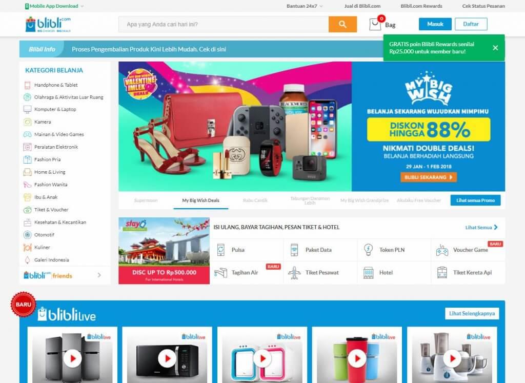 Login ke Blibli.com - Halaman website Blibli.com