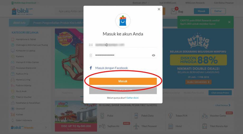 "Login ke Blibli.com - Klik tombol ""Masuk""."